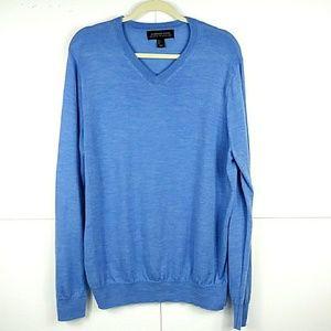 Harrison Davis 100% Merino Wool Blue Sweater L